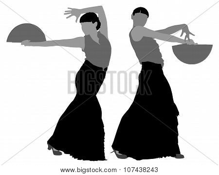 Two silhouettes of female flamenco dancer