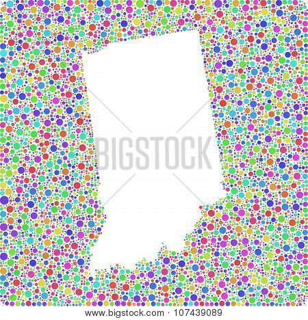 Decorative map of Indiana - USA -
