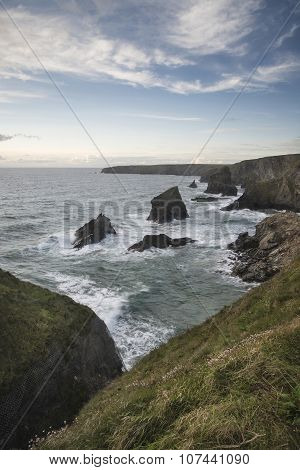 Stunning Landcape Image Of Bedruthan Steps On Cornwall Coast In England