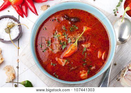 Goulash, beef, tomato, pepper, chili, smoked paprika soup.
