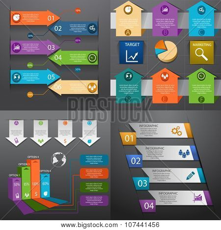 Business Infographic Template Set Vector Illustration Eps 10 Can Be Used For Workflow Layout Banner