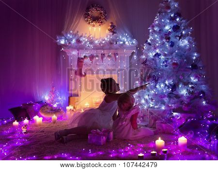 Christmas Night Room Kids, Lights Tree, Children Girls Looking Presents Gifts, Decorated Home