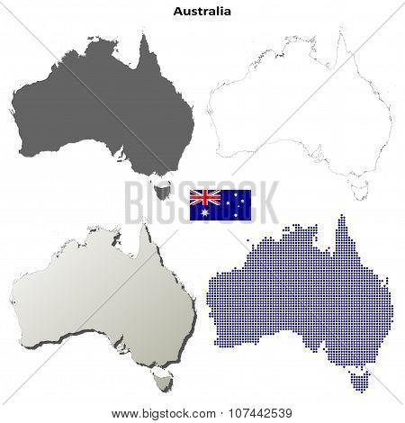 Australia outline map set