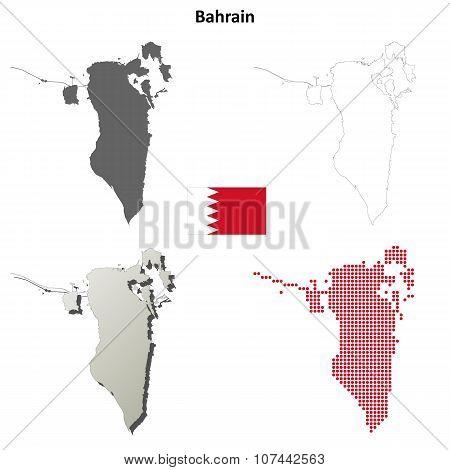 Bahrain outline map set