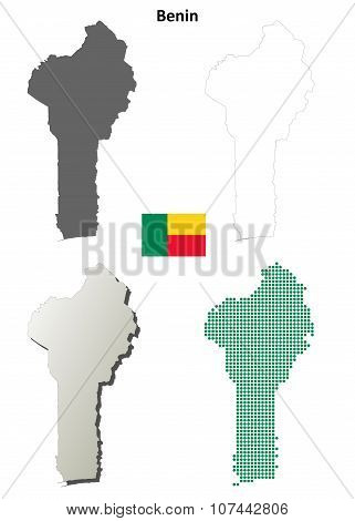Benin outline map set