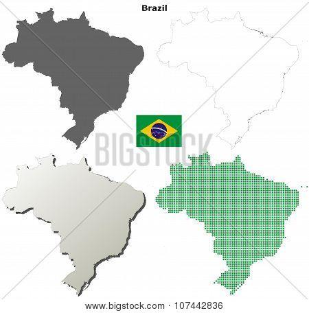 Brazil outline map set