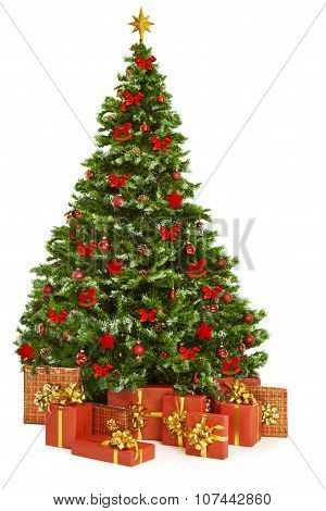 Christmas Tree And Presents Gifts, Xmas Tree Decorated With Toys, White
