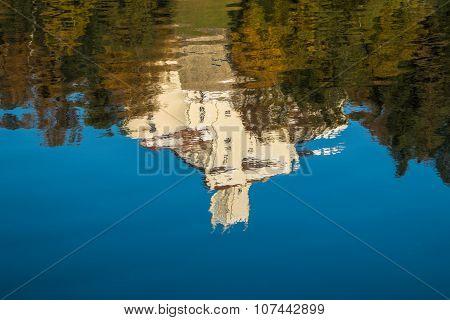 Castle of Trakoscan in Zagorje, Croatia, reflection on the lake