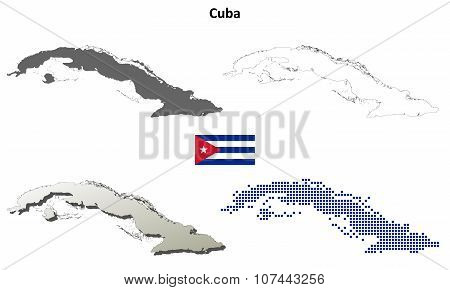Cuba outline map set