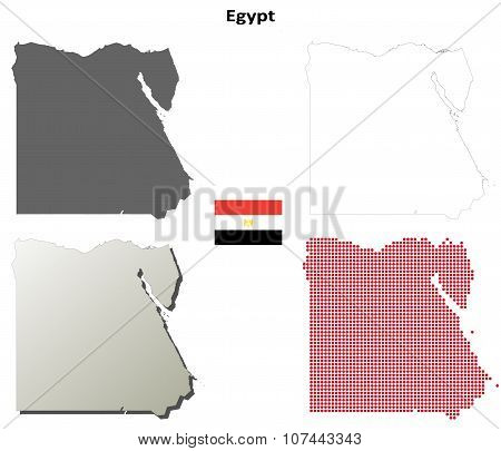 Egypt outline map set