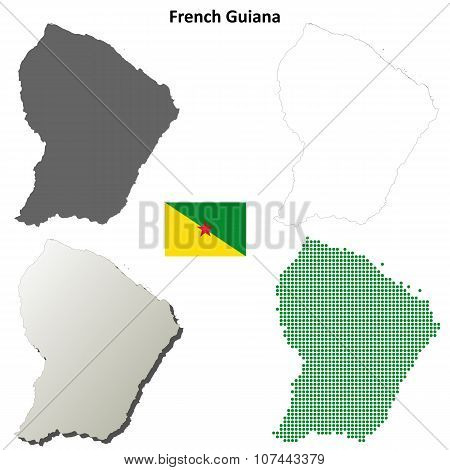French Guiana outline map set