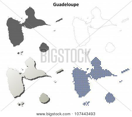 Guadeloupe outline map set