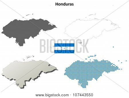 Honduras outline map set