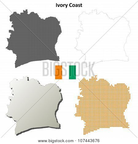 Ivory Coast outline map set