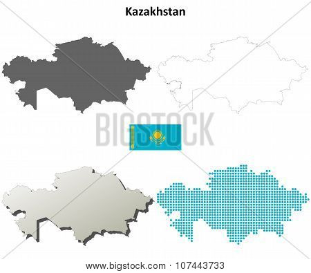 Kazakhstan outline map set
