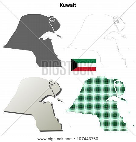 Kuwait outline map set
