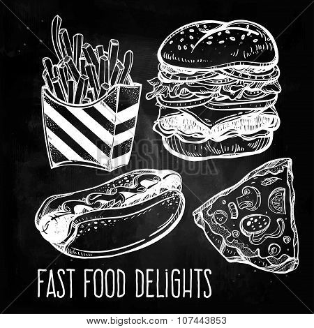Fast food set vintage linear style.