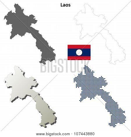 Laos outline map set