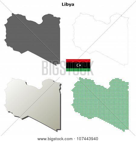 Libya outline map set