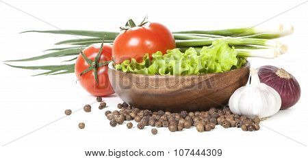 Vegetables on white background.