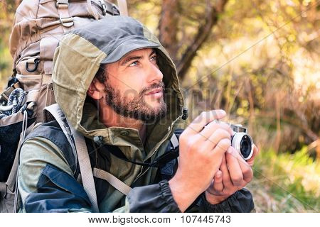 Handsome Young Hiker With Camera