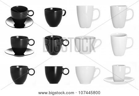 white and black cups isolated on a white background, a set of cups