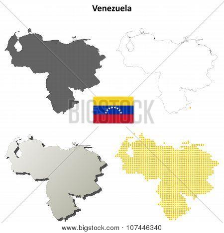 Venezuela outline map set
