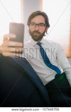 Businessman sending a text on the couch at home in the living room