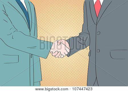 Handshake Business People Pop Art Hands Shake Retro