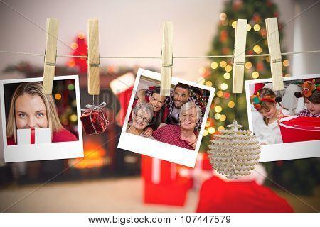Christmas photos on a line against christmas at home