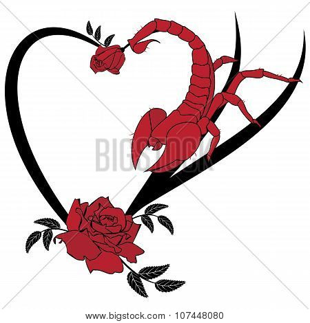 Valentine  Frame With Roses And Scorpion