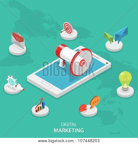 Digital marketing isometric flat vector concept.