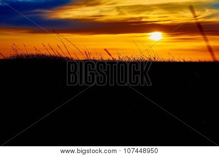 Sunset in the steppe.