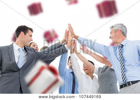 Business people doing hands checks against white and red gift box