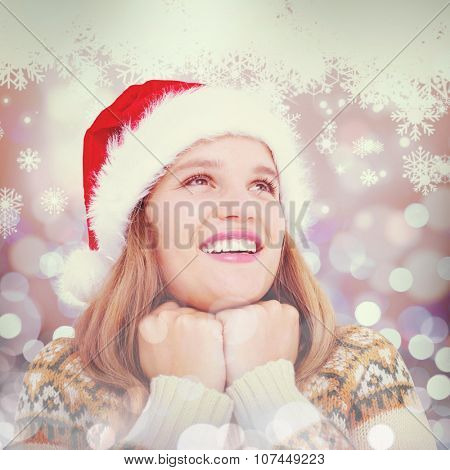 Smiling hipster against snowflake pattern