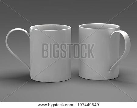Empty blank mugfor coffee or tea isolated on gray background 3D