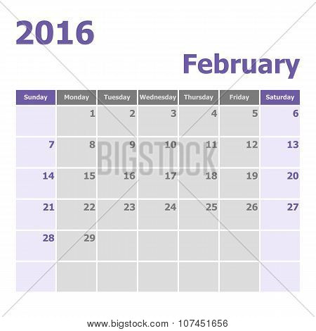 Calendar February 2016 Week Starts From Sunday