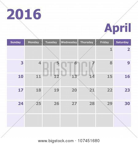 Calendar April 2016 Week Starts From Sunday