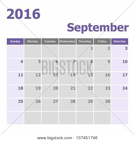 Calendar September 2016 Week Starts From Sunday