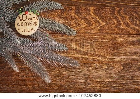 Christmas Tree With Burned Inscription Dreams Come True On Wood Texture