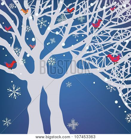 Winter Christmas Background With Tree, Snow And Birds
