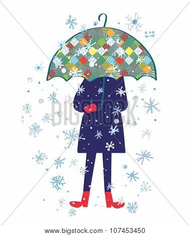 Snow Storm And Person With Umbrella - Cold Weather