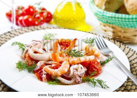 Dish With Tomatoes And Squid