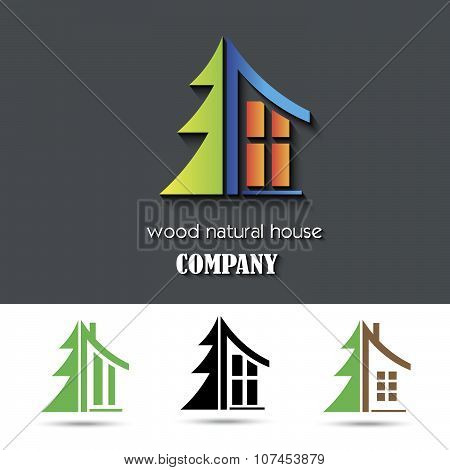 House Symbol With Wood Material Vector Illustration