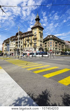 Architecture View Of The City Of Lausanne