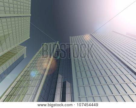 skyscrapers 3D rendering