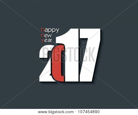 2017 Happy New Year Creative Text Design For Your Greetings Card