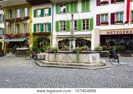 Fountain At Main Street In City Of Morat (murten)