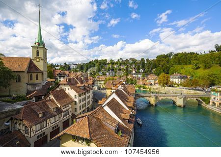 General View Along The River Aare In Bern
