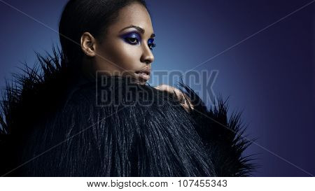 Gorgeous Black Woman In Faux Fur Jacket